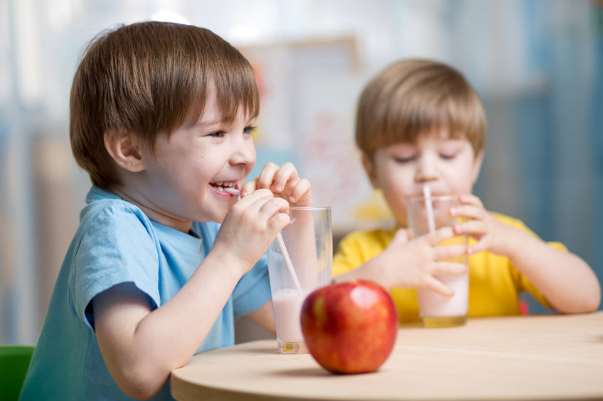 Apples and milk are great for children's dental health, as apples-while being chewed- scrub plaque off the teeth, and the vitamins and minerals in milk help strengthen teeth while also neutralizing acids in the mouth that cause tooth decay.